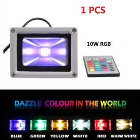 GREY ALUMINUM 10w LED COLOUR CHANGING FLOODLIGHT REMOTE CONTROL HOME GARDEN LAMP