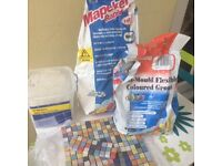 Left over tiling equipment, grout, mosaic tiles, spacers etc. See picture for all £5 only