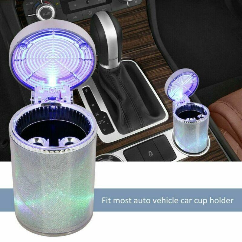 Car Ashtray Holder  LED Light Portable Travel Cigarette Cylinder Colorful