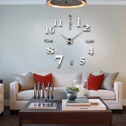 Silver 3D Modern DIY Large Number Mirror Wall Sticker Watch Home Decor Art Clock