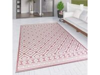 Pink and Cream Diamond Outdoor Rug, 160 x 220cm - Other Sizes Available - Limited Stock