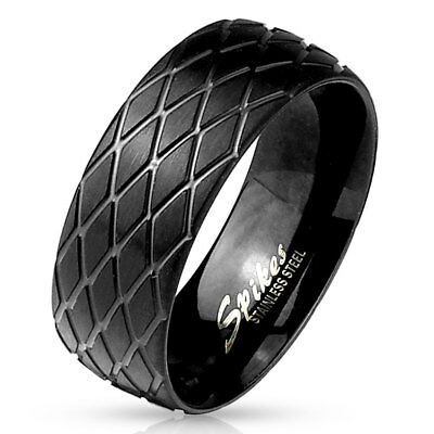 - Tire Tread Pattern Black Ion Plated Stainless Steel Finger Ring