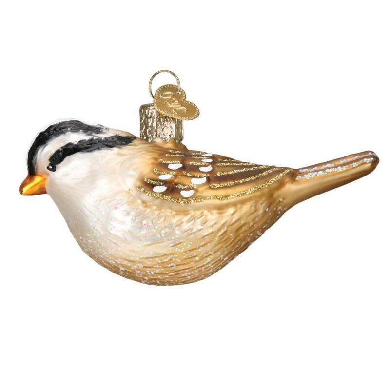 WHITE CROWNED SPARROW HANGING BIRD OLD WORLD CHRISTMAS GLASS ORNAMENT NWT 16124