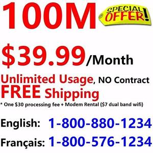 100M Internet plan $39.99/month, unlimited & no contract,Free Shipping.Please call 416-422-2222 or 613-816-8888 to order