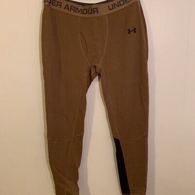 Under Armour Mens Leggings Brown Cold Gear Fitted Base Layer Stretch 2XL New Under Armour Mens Coldgear Leggings