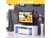 Modern TV Unit 130cm Cabinet White Matt and White High Gloss FREE LED RGB