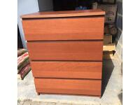IKEA 4 Drawer Malm Brown Stained Ash Veneer