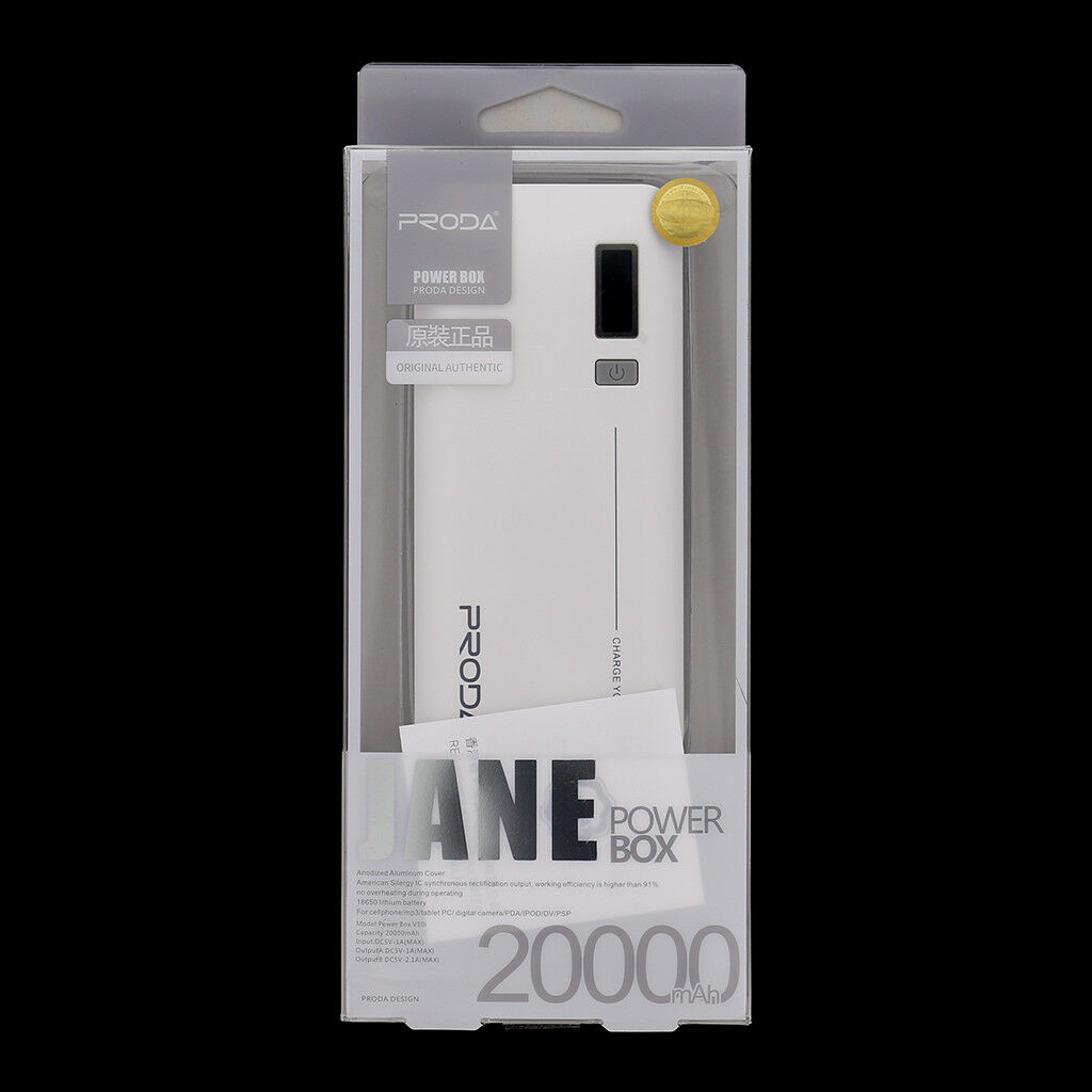 POWER BANK BATTERIA 20000MAH ORIGINALE REMAX JANE V10I BIANCO 20A MICROUSB PILA