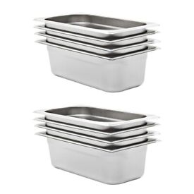 Gastronorm Containers 8 pcs GN 1/3 100 mm Stainless Steel-50895