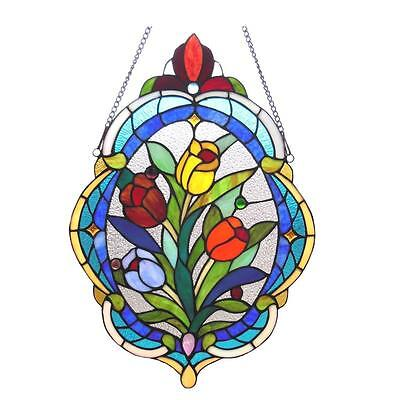 Stained Glass Chloe Lighting Tulip Window Panel CH1P085BF22-GPN 15.5 x 22.5""