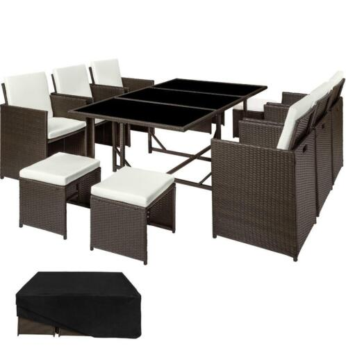 Wicker Eettafel Set Met 8 Stoelen En 4 Krukken Zwart.Wicker Zitgroep Malaga Incl 6 Stoelen En Tafel 402830
