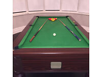 Monarch Pool Table with 2 Cues and Complete set of Pool and Snooker balls