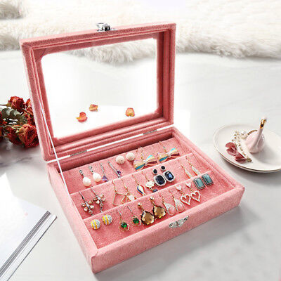 Premium Jewelry Earrings Display Tray Organizer Storage Box Case Clear Lid S