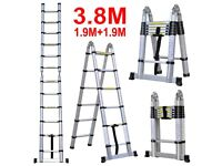 **£69** Brand New 3.8m A Frame Stepladder Aluminium Telescopic Collapsible Loft Ladder Extendable