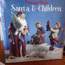 Xmas Santa and children vintage style