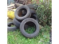 15-20 used car tyres, free maybe useful on allotment etc