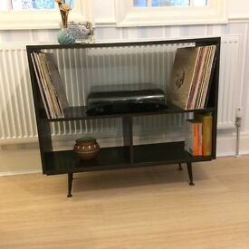 media/shelf unit/console. Vintage handmade 70's, splayed legs painted in graphite
