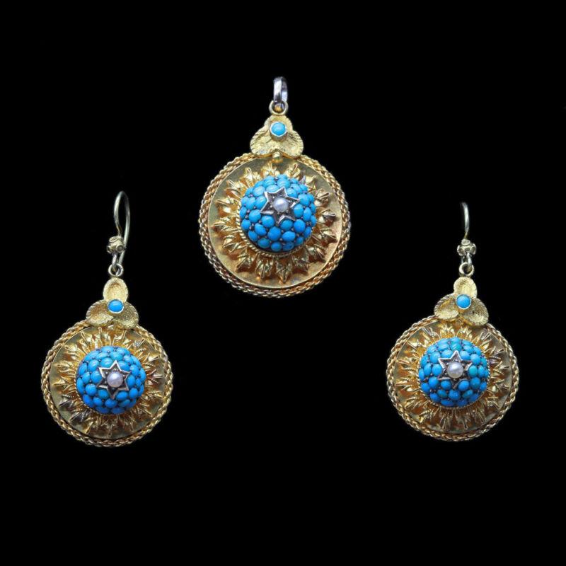 Victorian Earrings Pendant Set Parure 15ct Gold Turquoise Pearls Antique (6619)