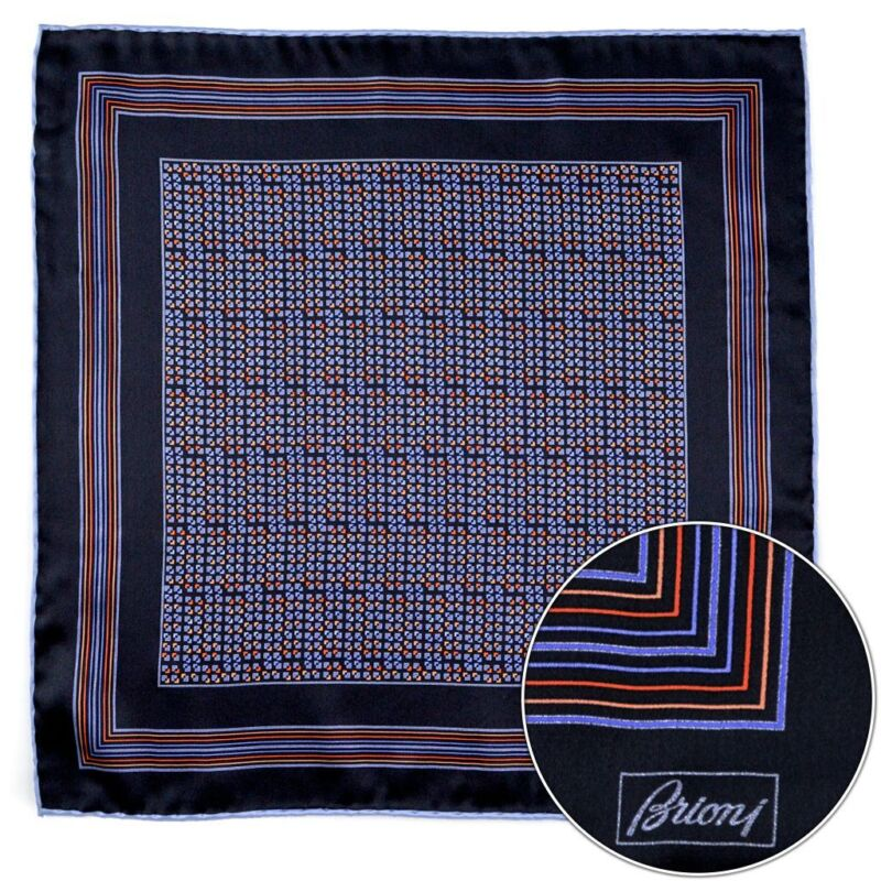 $150 New BRIONI Navy Orange Silk Hand Rolled Pocket Square Handkerchief Hanky