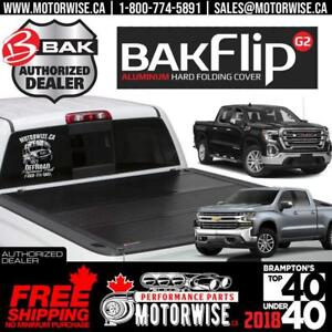 "2019 Chevrolet Silverado GMC Sierra 1500 Bakflip 5'8"" Bed G2 Hard Folding Tonneau Cover 