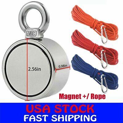 900lbs Fishing Magnet Kit Upto Pull Force Strong Neodymium Rope Carabiner