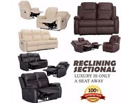 3+2+1 SEATER LEATHER RECLINER SOFAS BLACK BROWN CREAM LAZYBOY SOFA SET