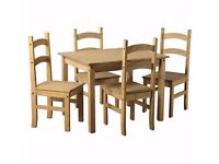 Corona Solid Pine Mexican Living Room Waxed Furniture Dining Table With 4 Chairs