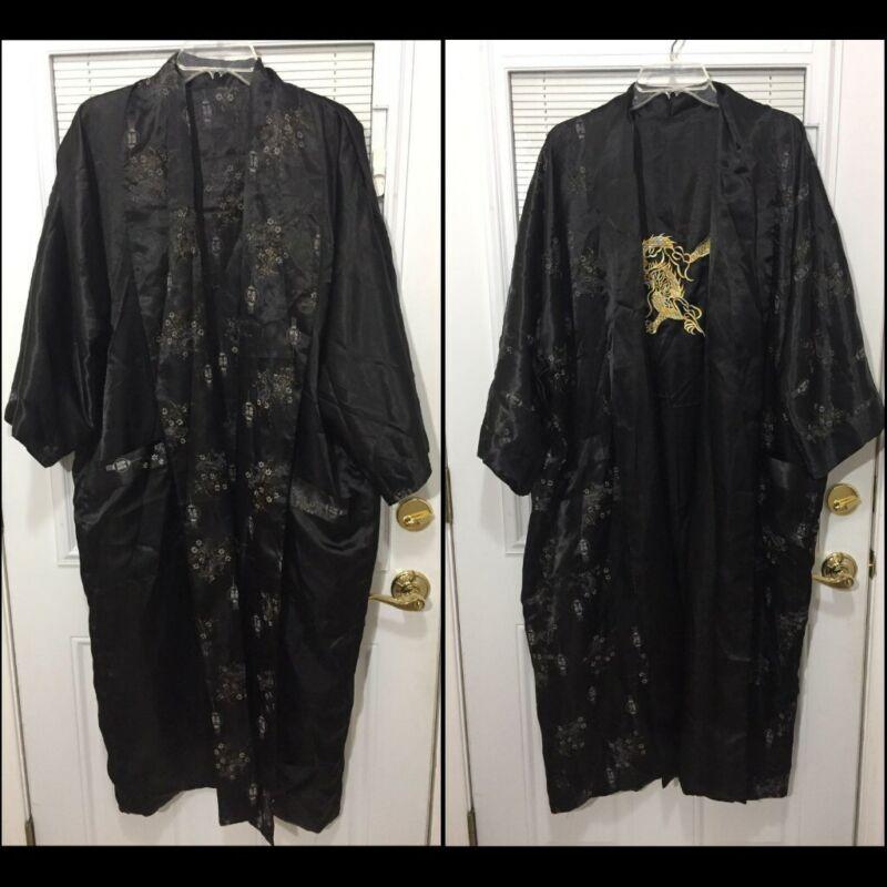Reversible Embroidered Gold Dragon Silk Kimono Robe Black Sz M