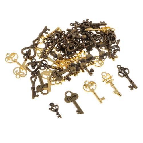 50Pcs Vintage Skeleton Key Charms Pendant for DIY Jewelry Ma