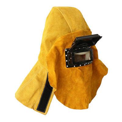 Welding Helmet Mask Solar Darkening Filter Lens Welder Leather Hood Cover.