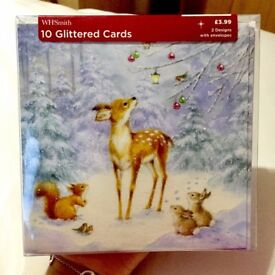 10 Brand New Glittered Christmas Cards