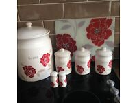 Poppy bread bin, tea, coffee & sugar holders, salt & pepper pots & glass chopping board