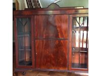 Sideboard / Bureau dark wood antique style with storage