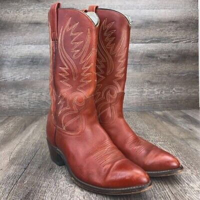 Acme Men's Brown Leather Stitched Cowboy Western Boot 9.5 D