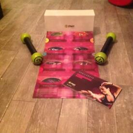 Zumba Exhilarate DVD box set with weights.