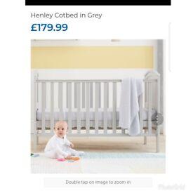 Grey cot bed and mattress