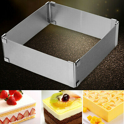 - Adjustable Stainless Steel Cake Mousse Mould Baking Square Form Ring Home Tool