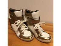 White & Gold Ladies Hightop Wedges Trainers Size 6