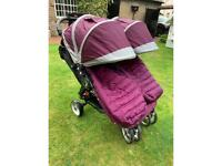 City Mini by Baby Jogger Double Buggy + footmuffs.