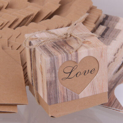 50pcs Kraft Brown Shabby Rustic Candy Gift Boxes With Rope Wedding Favor
