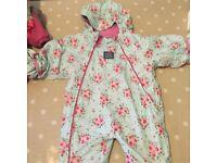 Jo Jo Maman Bebe girls snowsuit, 12-18 months