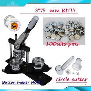 "ALL METAL DIY Button maker kit!! 3"" 75mm Badge Button Maker+Circle Cutter+100 Pin back Button"