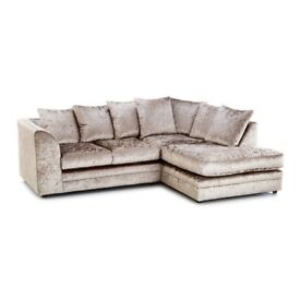 Crushed velvet sofa + footstool