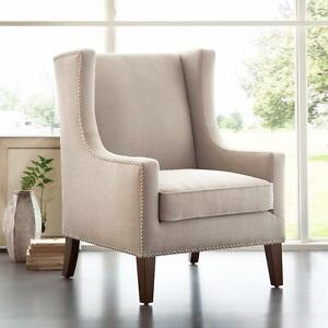 "Madison Park Barton Wing Chair - Linen - 30.3W x 33.9D x 40.9H"" - Brand New"