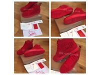 Christian Louboutin Red Suede Trainers Mens Women's Boys Girls Sneakers Shoes Loubs Various Sizes