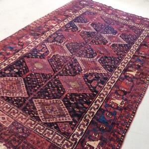 Hamedan Antique Persian Rug, Handmade Carpet, Wool, Red, Burgundy, Black, Beige, Orange & Blue Size: 8.9 X 5.9 ft