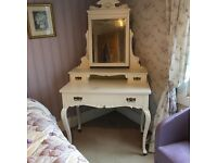 Antique French style painted bedroom suite comprising double wardrobe dressing table and washstand