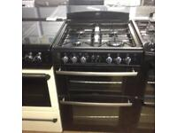 Black 60cm gas cooker (glass lid)