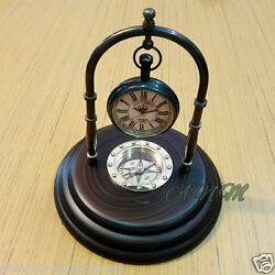 Antique Brass Desk Clock With Wooden Base Marine Compass Table top Decorative