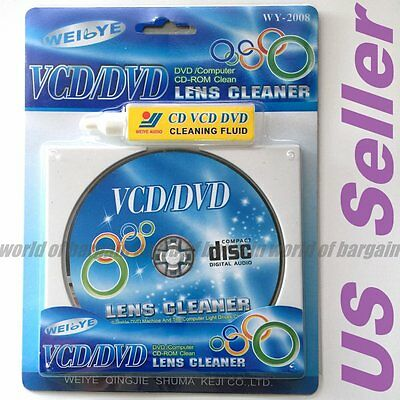 Compact Disc PLAYER CLEANER VCD CD DVD ROM Wet Dry Optical Disk Drive Fluid EL44